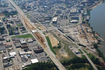 An aerial view of the Fulton Ave. Overpass, 2009.