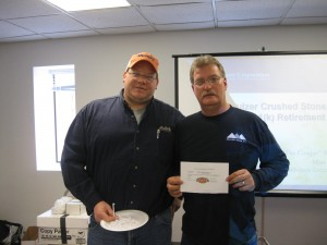 Brian Peters with Shambline Stone, Inc. Winner Tim Huffman